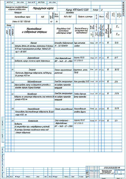Маршрутная карта восстановления корпуса КПП КамАЗ-5320