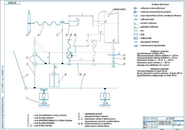 Кинематическая схема установки для снятия и установки ступиц колес грузовых автомобилей
