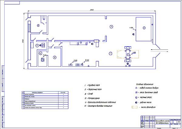 Планировка кузовного участка АТП до проекта модернизации