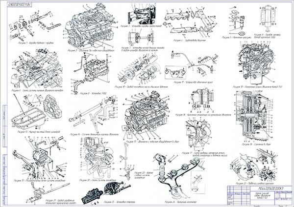 Карта эскизов сборки двигателя КамАЗ-740