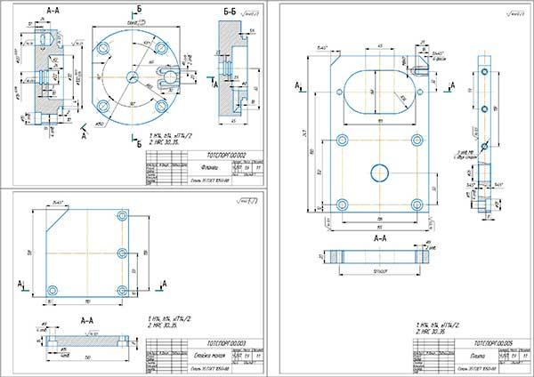 Деталировка приспособления для растачивания отверстий корпуса гидронасоса НШ