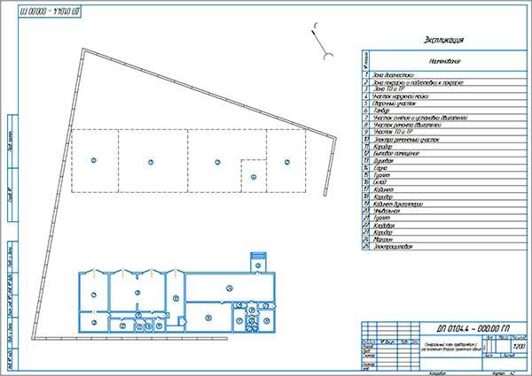 Генеральный план городской СТО с расположением второго проектного здания (Лист 2)