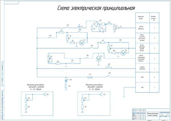 Принципиальная электрическая схема диагностического стенда