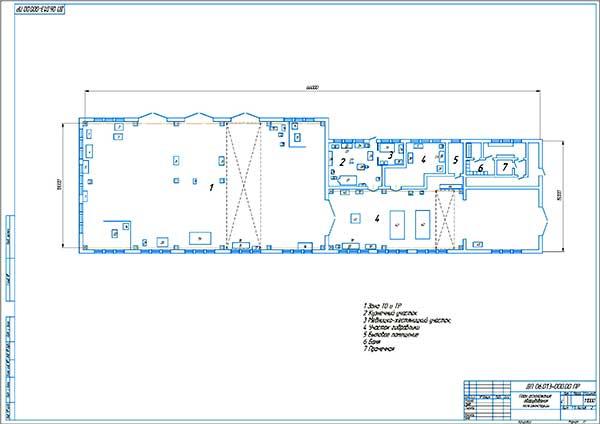 План расположения технологического оборудования по проекту реконструкции автобазы