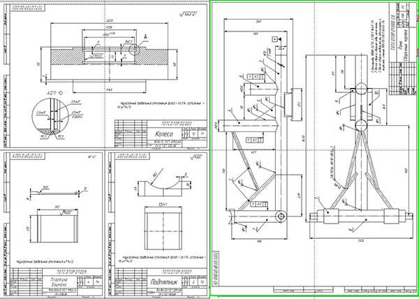 Деталировка устройства для расстыковки и сборки остова трактора МТЗ