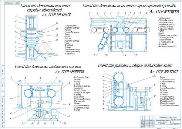 Существующие конструкции шиномонтажных стендов