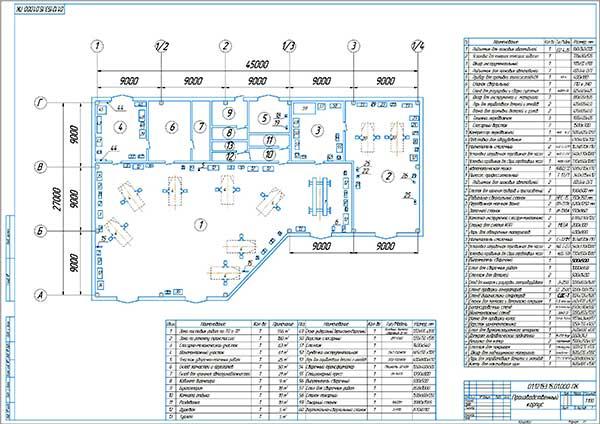 Планировка производственного корпуса автокомплекса с расстановкой оборудования