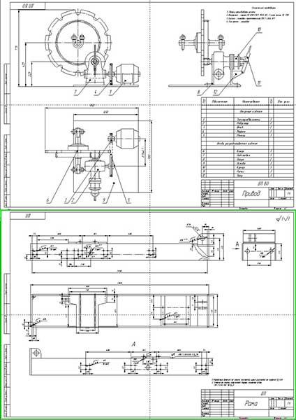 Сборочные чертежи привода стенда и рамы