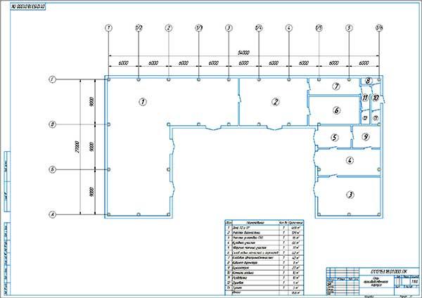 План производственного корпуса проектируемого СТО