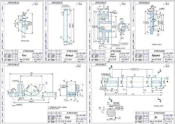 Деталировка привода стенда Ш-515