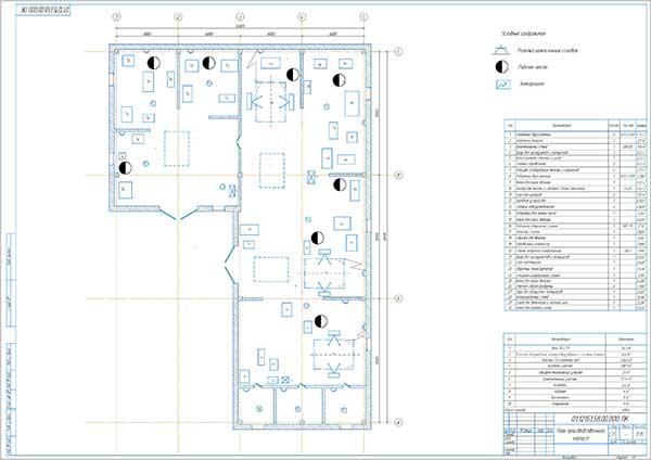 План производственного корпуса СТО Ансар до реконструкции