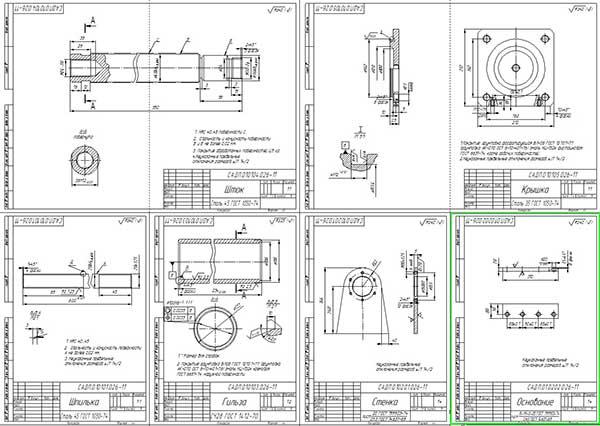 Деталировка стенда для сборки катка поддерживающего трактора Т-130 Лист 1
