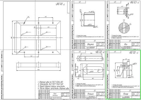 Деталировка подъемной тележки для узлов и агрегатов