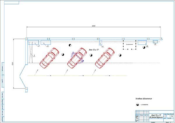 План зоны ТО и ТР СТОА Автомастер 14 до реконструкции