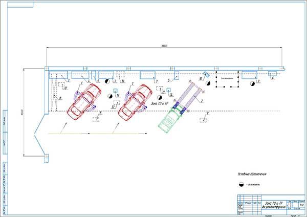 План зоны ТО и ТР СТОА Автомастер 14 после реконструкции