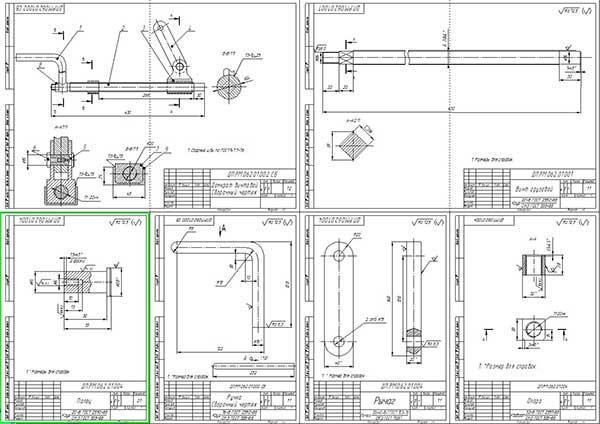 Сборочный чертеж механизма подъема оси и деталировка