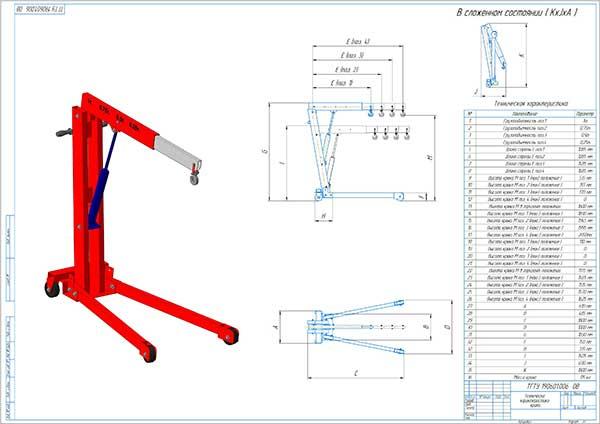 Техническая характеристика проектируемого передвижного крана