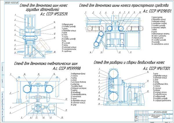 Обзор существующих конструкций шиномонтажных стендов для колес грузовых автомобилей