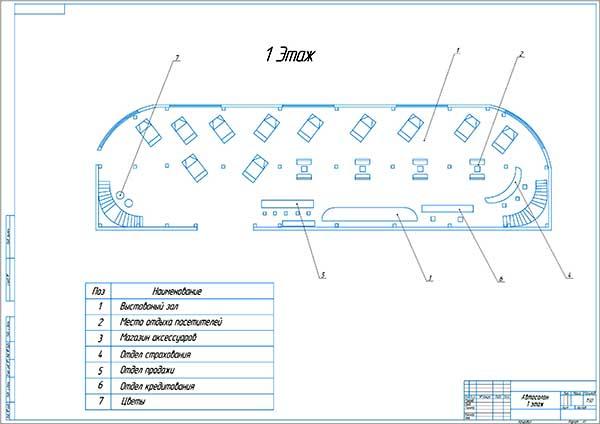 План автосалона Рено 1-ый этаж