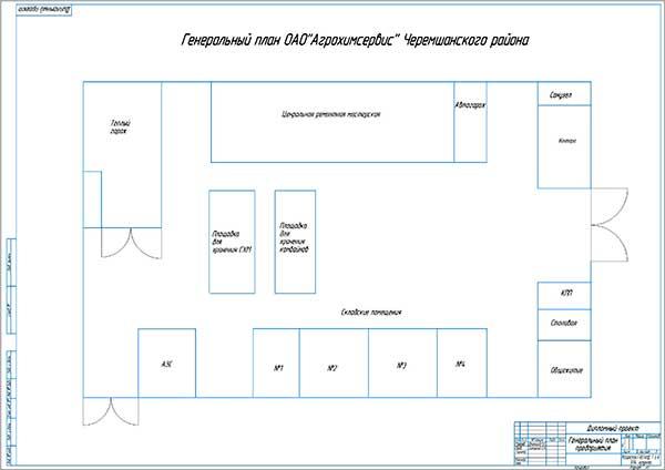 Генеральный план производственной базы ОАО Агросервис