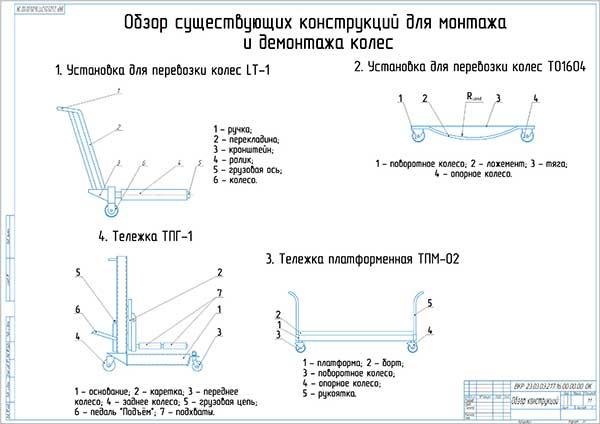 Анализ конструкций установок для монтажа и демонтажа колес автомобилей и тракторов