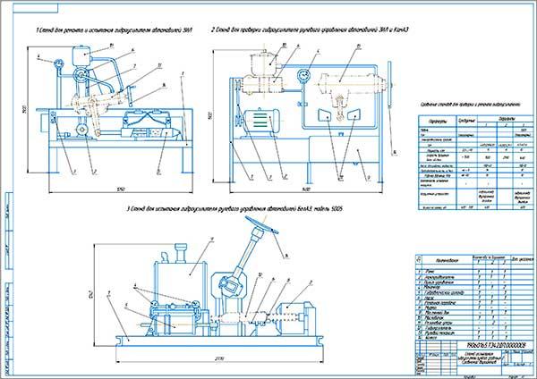 Сравнение вариантов стендов испытания гидроусилителей рулевого управления