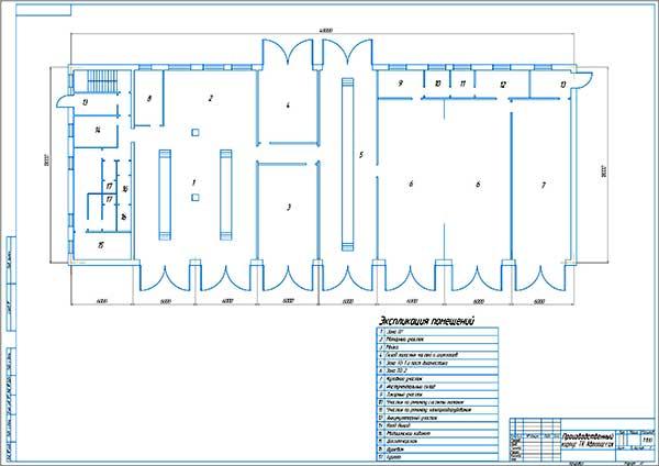 Планировка производственного корпуса ТК Автопассаж