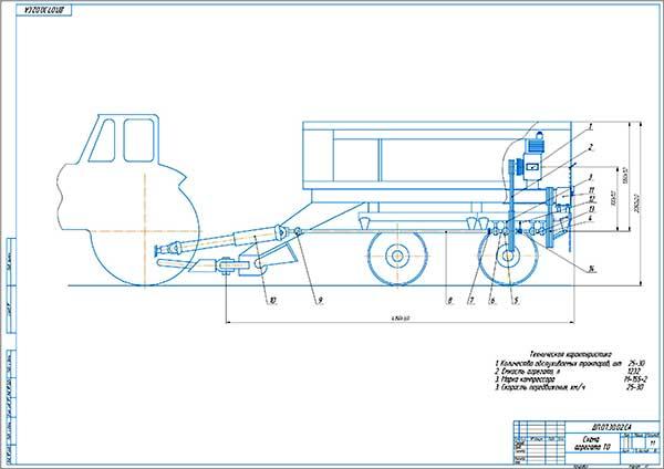 Схема энергообеспечения мобильного пункта ТО тракторов