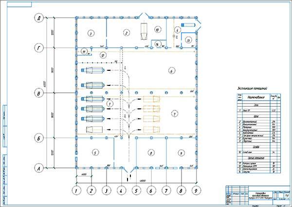 Планировка производственного корпуса АТП ООО Меркурий