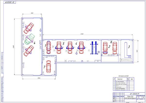 Планировка зоны технического обслуживания и ремонта после реконструкции