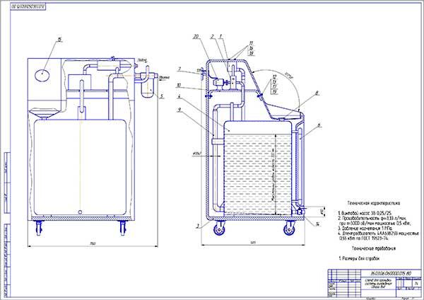 Стенд для промывки системы охлаждения двигателей Общий вид