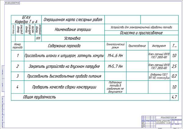 Операционная карта на монтаж устройства электрической обработки топлива