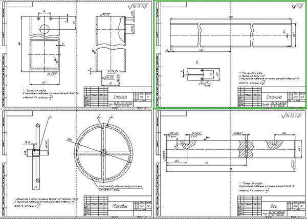Деталировка стенда для контроля размеров штоков гидроцилиндров Лист 1