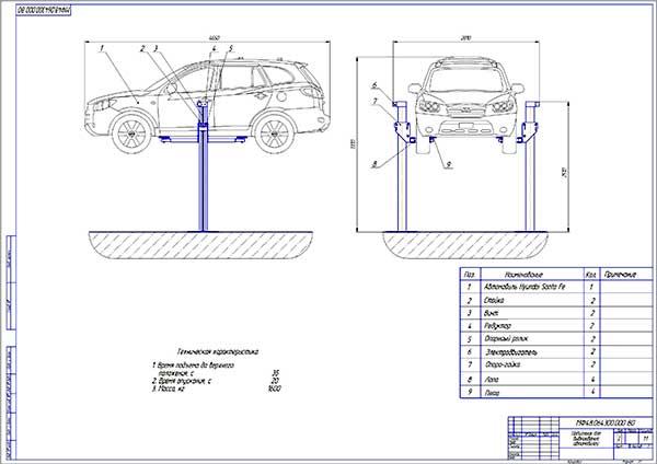 Подъемник для вывешивания автомобиля Чертеж общего вида