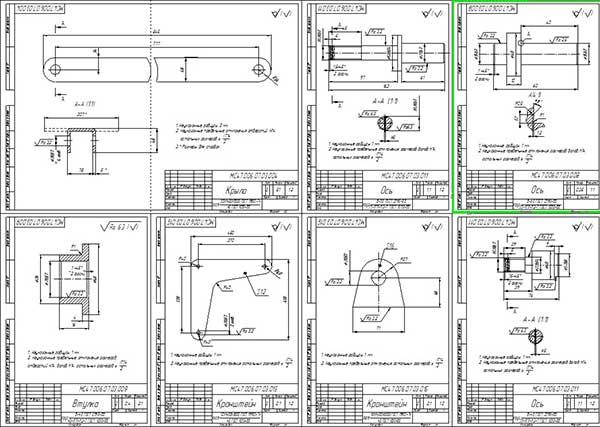 Деталировка устройства для автоматического открывания бортов самосвала