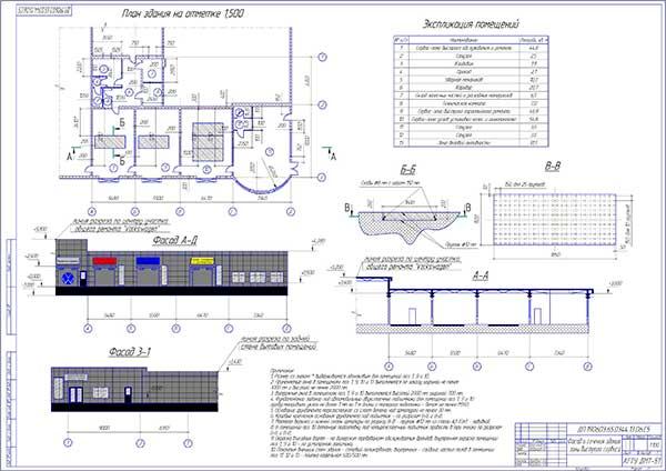 Фасад и сечения здания зоны быстрого сервиса