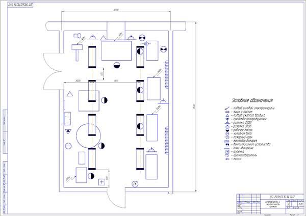 План освещения и вентиляции шиномонтажного участка