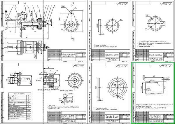 Сборочный чертеж подвижной части привода датчика и детали