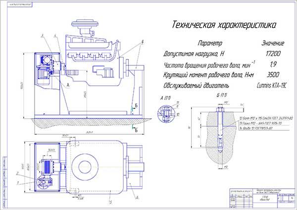 Стенд для разборки и сборки двигателей типа Cummins KTA-19C