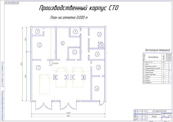 План производственного корпуса проектируемой СТО