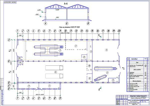 План производственного корпуса автоколонны