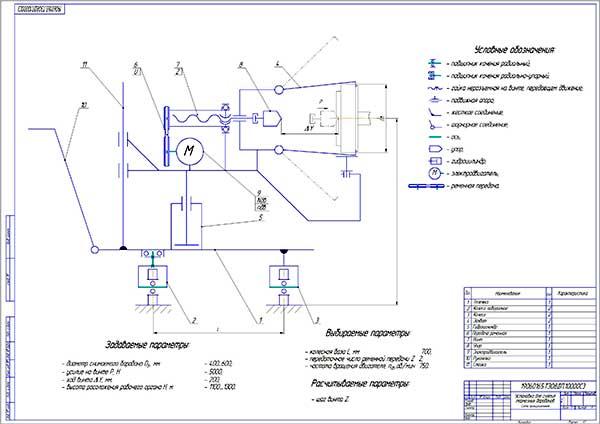 Принципиальная схема установки для снятия тормозных барабанов автобусов
