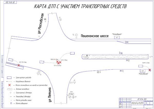 Карта ДТП с участием транспортных средств