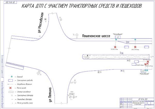Карта ДТП с участием транспортных средств и пешеходов