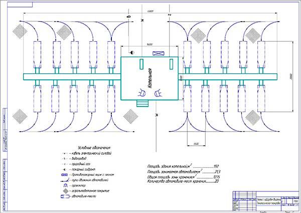 Технологическая планировка стоянки с подогревом ДВС