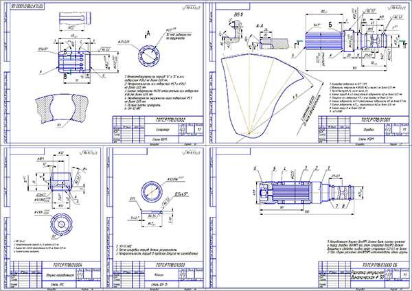 Сборочный чертеж Раскатки импульсной динамической диаметром 50 мм. и деталировка