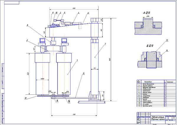 Диплом Проект поста мойки для АТП ООО Спектр гор Перми Сборочный чертеж рабочей колонны мойки