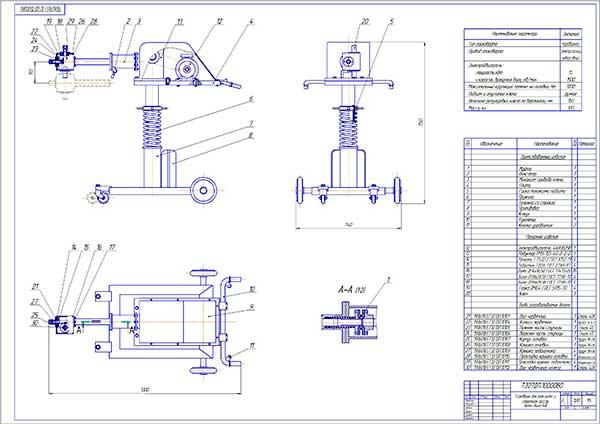 Чертеж общего вида модернизированного гайковерта для гаек колес и стремянок рессор
