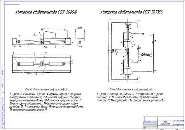 Патентный поиск аналогов стенда испытания гидроцилиндров машин