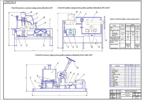 Сравнение вариантов стендов для испытания гидроусилителей рулевого управления